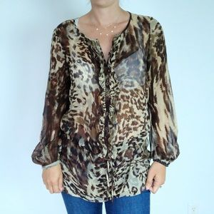 Cabi Brown Animal Print Long Silk Tunic Top 806